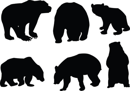 bears collection silhouette - vector Vector