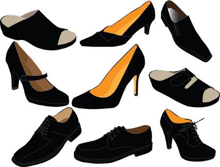 peep toe: footwear collection - vector