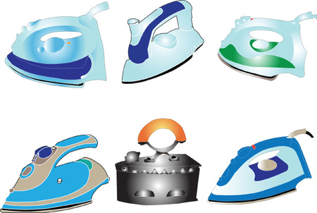 steam iron: iron collection - vector