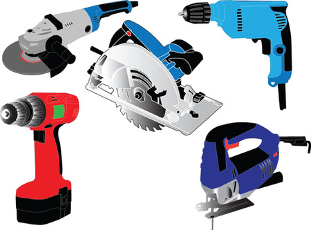 hand drill: electric hand tools collection - vector