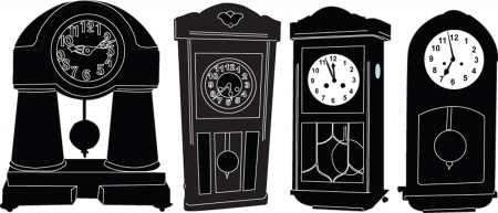 chiming: chiming clocks collection - vector