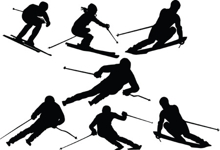 ski slops collection silhouette Stock Vector - 5264358