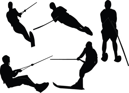 water skiing collection Vector