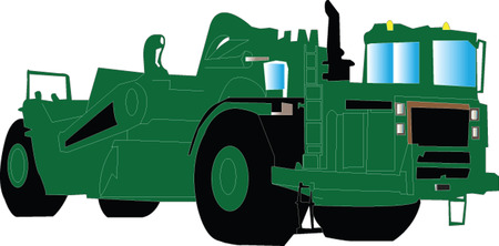wheeled tractor: scraper Illustration