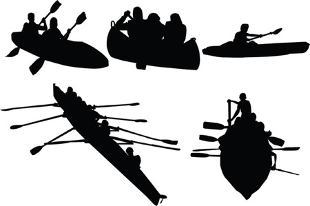dugout: rowing collection - vector Illustration