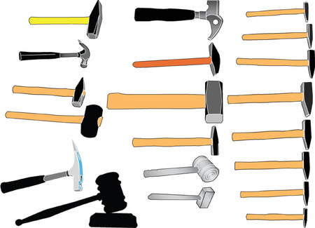 screw head: hammers in color collection - vector