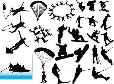 sky diving:  extreme sport collection - vector