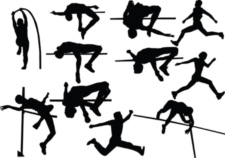 salti: Athletic raccolta jumping - vector