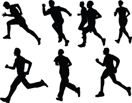 collection of running people - vector Vector