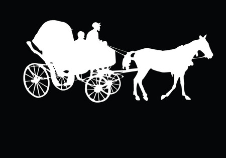 horse and cart: barouche - vector