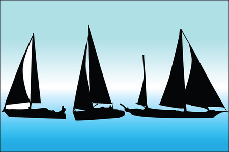 sailing boat collection - vector Vector