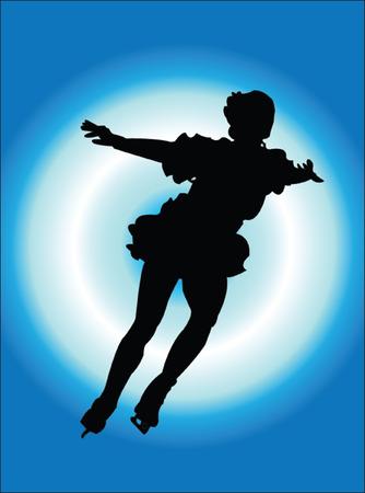 schaatsen silhouet op backgfound - vector
