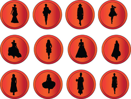 fashion week: buttons with fashion week collection - vector