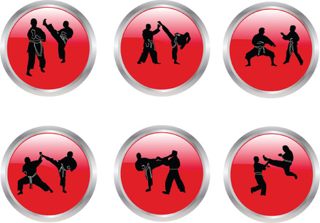 buttons with karate illustration collection Vector