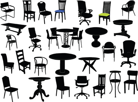 chairs and tables illustration - vector