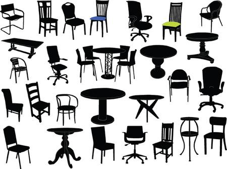 sgabelli: sedie e tavoli illustrazione - vettoriale