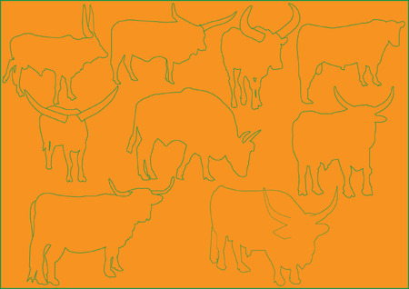 cattle illustration collection - vector Vector