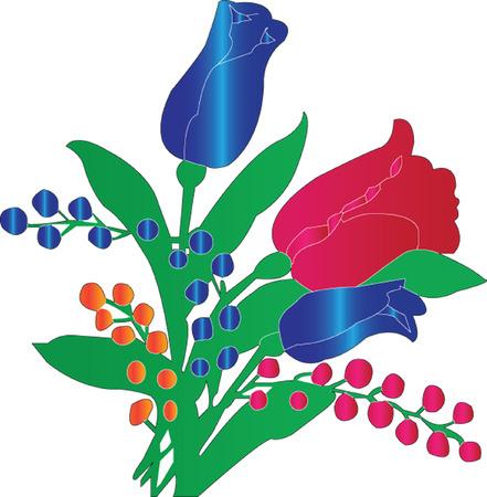 natura morta con fiori: illustrazione di ornamento del tulipano-