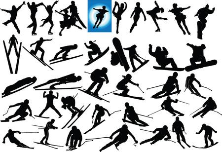 sport invernali: insieme di illustrazione di sport invernali
