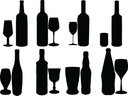 alcoholismo:  botella & amp, colecci�n de gafas