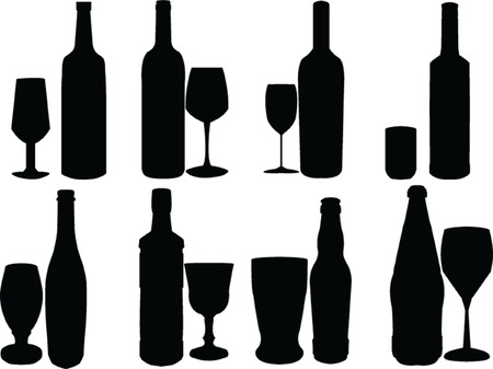 bottle &amp, glasses collection Vector