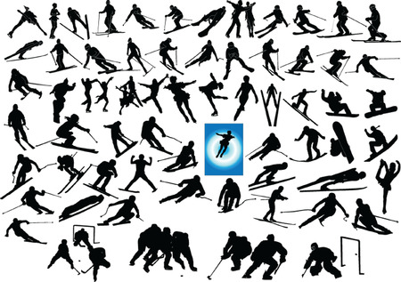mix winter sports collection Vector