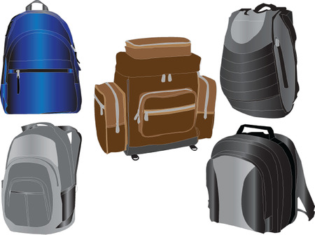 rucksacks collection Vector