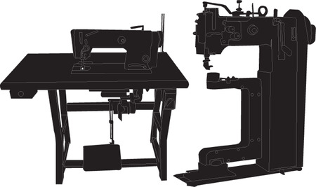 black and white sewing: sewing machine
