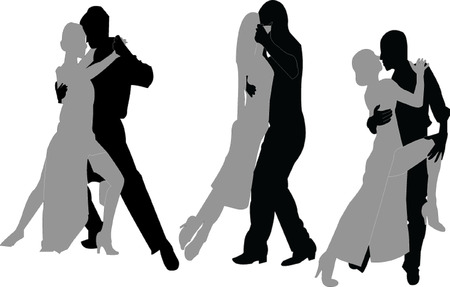 tango couple silhouette collection Vector