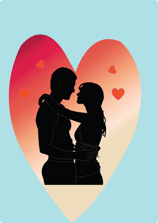lovers embracing:   love - vector