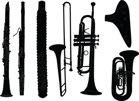 instrumento musical de latón Ilustración de vector