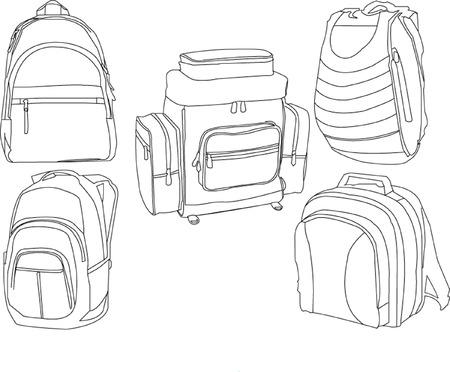 mochila viaje: colecci�n de mochilas Vectores