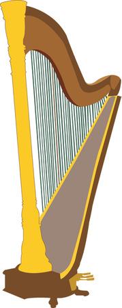 harp illustration Vector