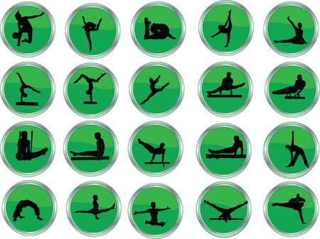 gymnastic button collection  Vector