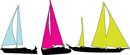 sailing boats collection  Vector