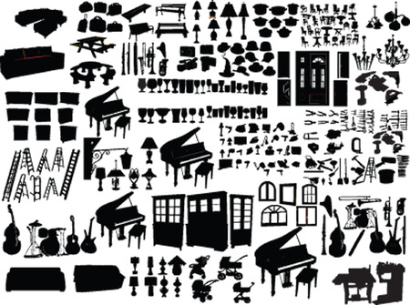 tool bag: big collection of home items  Illustration