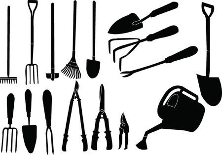 colección de herramientas de jardinero  Ilustración de vector