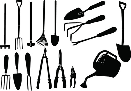 hoe: gardener tools collection  Illustration