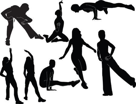 abdominal exercise: aerobic collection - vector Illustration