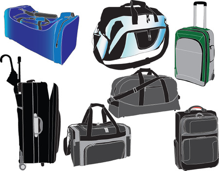 packed: travel bags collection - vector Illustration