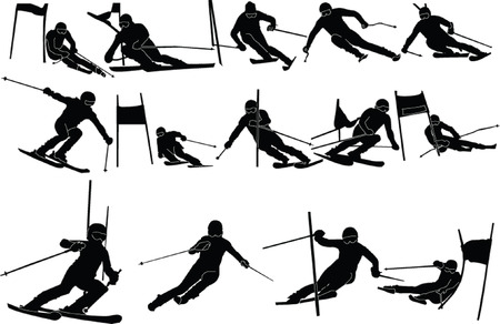 mountain skier: skiing colection - vector Illustration