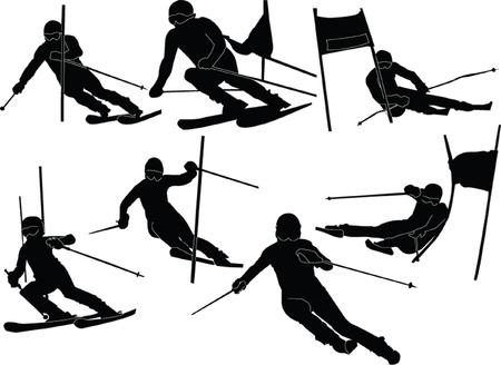 slalom: kajakarstwo górskie-narciarstwo silhouette - wektorowe
