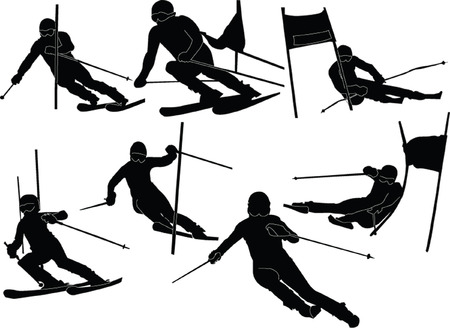 ski jump: slalom skiing silhouette - vector Illustration