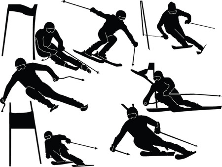 mountain skier: large slalom skiing collection - vector