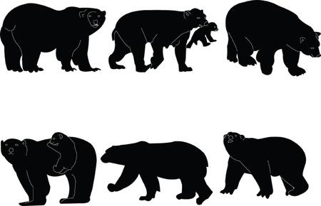 bear silhouette: polar bears collection - vector
