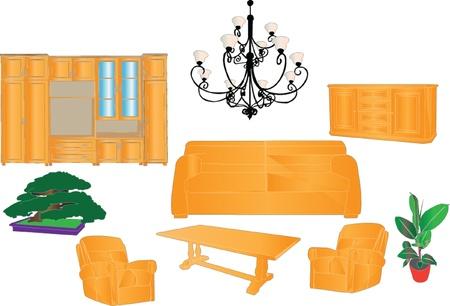 flower lamp: living room set - vector