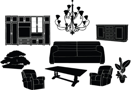 modern living room: living room set - vector