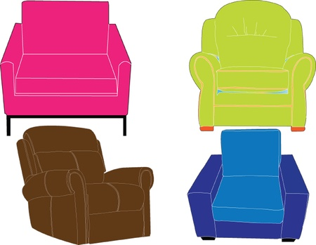 armchairs collection silhouettes - vector Vector