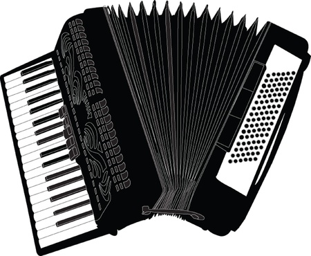 50s: accordion illustration - vector Illustration