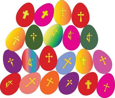 poult: huevos de Pascua con cruces - collecction vector Vectores